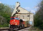 Westbound heads under the old GTW coaling tower